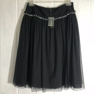 Express Skirt Tulle Rhinestone Studs Black 2 NEW